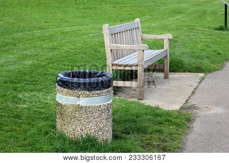 Wooden Seat With Concrete Litter Bin