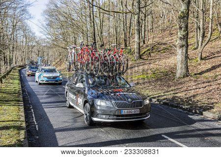 Cote De Senlisse,, France - March 5, 2017: The Technical Car Of Trek-segafredo Team Driving In The C