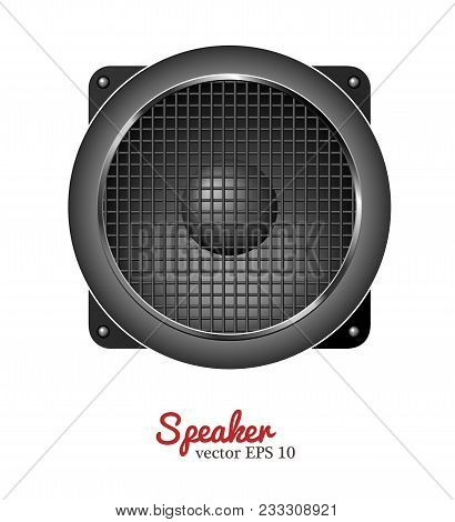 Sound Speaker. Music Loudspeaker, Acoustic Stereo Musical Equipment Icon. Realistic Studio, Party So