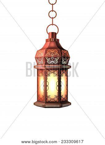 Ramadan Kareem Lantern Celebration Lamp Realistic 3d Illustration. Vector Arab Islam Culture Festiva
