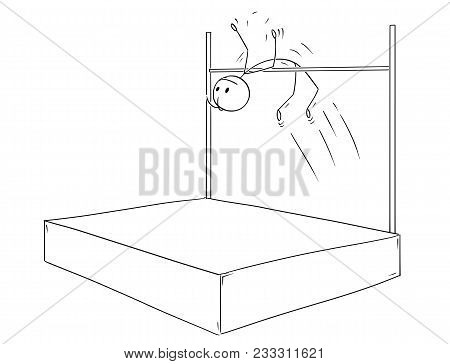 Cartoon Stick Man Drawing Conceptual Illustration Of Man Or Male Athlete Doing High Jump Over Bar.