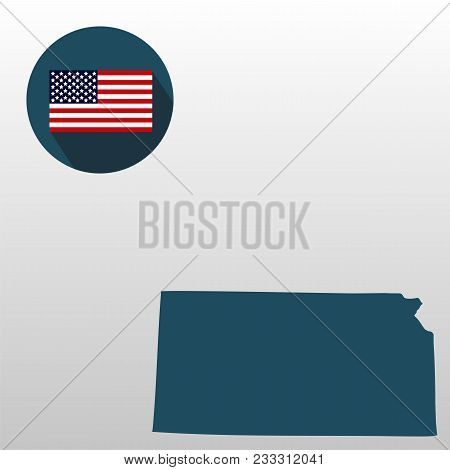 Map Of The U.s. State Of Kansas On A White Background. American Flag