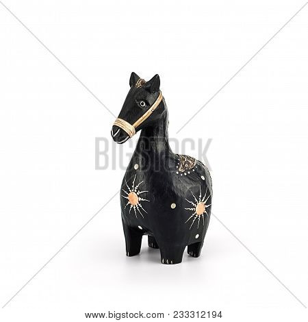 Wooden Horse Handmade Isolate On White. Handmade Creativity In Some African Populations