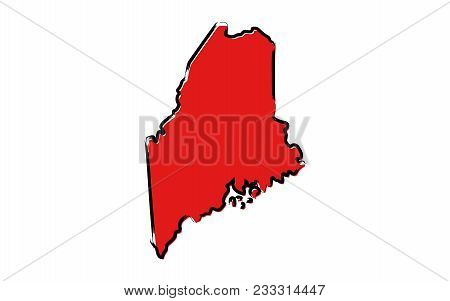 Stylized Red Sketch Map Of Maine Illustration Vector
