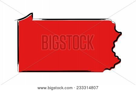 Stylized Red Sketch Map Of Pennsylvania Illustration Vector
