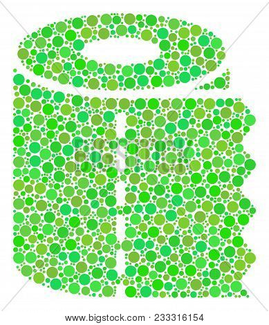 Toilet Paper Roll Collage Of Dots In Different Sizes And Eco Green Color Tints. Vector Round Dots Ar