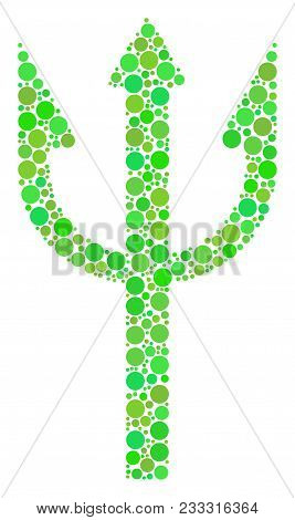 Trident Fork Composition Of Dots In Different Sizes And Ecological Green Color Tones. Vector Filled