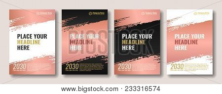 Collection Of Covers With Brush Strokes For Books, Magazines, Catalogs. Rose Gold. Vector Illustrati