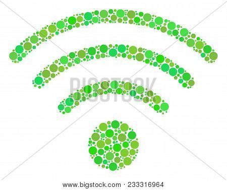 Wi-fi Source Collage Of Filled Circles In Variable Sizes And Fresh Green Color Tints. Vector Round D
