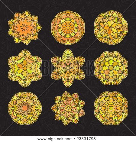 Set of hand drawn medallion yellow lace pattern on black background. Ethnic colored decorative mandala. Elegant motif for save the date card, greeting card, wedding invitation. Vector illustration. poster