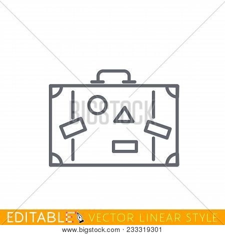 Line Icon Suitcase With Labels, Isolated On White. Editable Line Sketch Icon. Stock Vector Illustrat