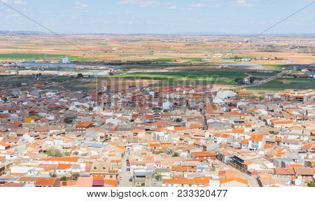 aerial view of Consuegra, Traditional windmills of Castilla La Mancha. Toledo, Spain.windmills that were used to grind the cereal