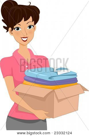 Illustration of a Woman Carrying a Donation Box Full of Clothes