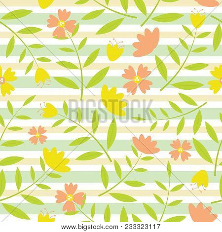 Yellow And Oranges Flowers Seamless Pattern On Green And Yellow Striped Background Vector Design For