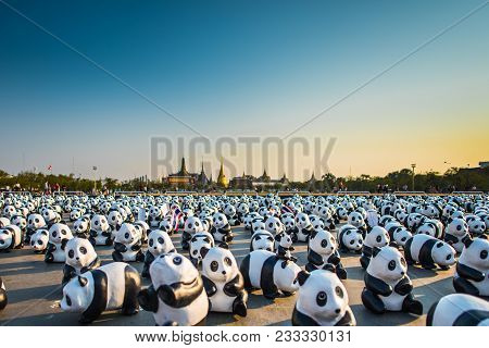 Bangkok, Thailand - March 4, 2016: 1600+ Of Paper Sculpture Pandas Arrive In Historical Place Of Ban