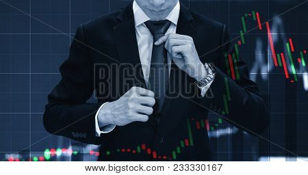 Double Exposure Businessman Tying Necktie And Raising Financial Graph. Business Growth, Investment A