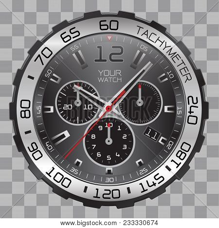 Realistic Watch Clock Chronograph Face Stainless Steel Black Dial On Checkered Pattern Background Ve