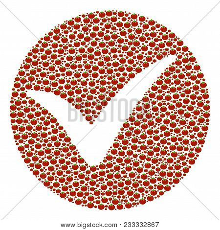 Apply Composition Of Tomato. Vector Tomato Objects Are Composed Into Apply Mosaic. Healthy Vector Il