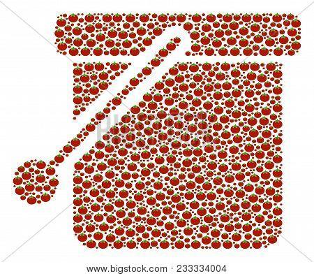 Bucket Mosaic Of Tomato. Vector Tomato Vegetable Items Are Grouped Into Bucket Figure. Salad Vector