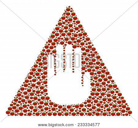 Caution Composition Of Tomato. Vector Tomato Items Are United Into Caution Mosaic. Vegetable Vector