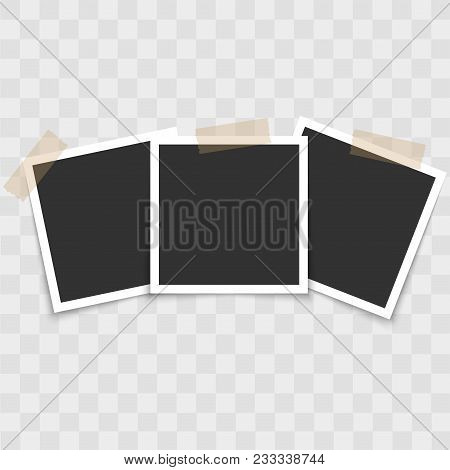 Realistic Photo Frame Set With Sticky Tape. Vector