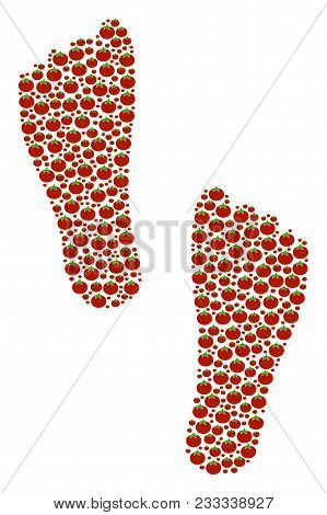 Human Footprints Collage Of Tomato Vegetables. Vector Tomato Objects Are Organized Into Human Footpr