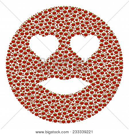 Lady Love Smiley Mosaic Of Tomato. Vector Tomato Objects Are Combined Into Lady Love Smiley Figure.