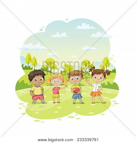 Group Of Children Ist Standing In A Meadow, Vector Illustration