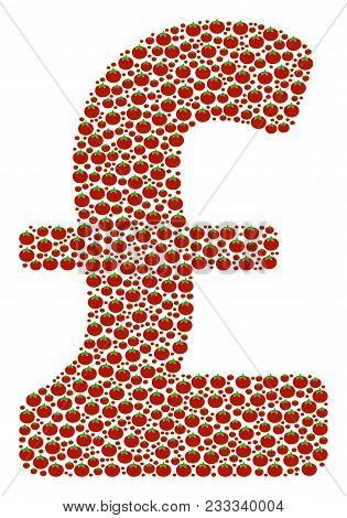 Pound Sterling Composition Of Tomato. Vector Tomato Objects Are Grouped Into Pound Sterling Mosaic.