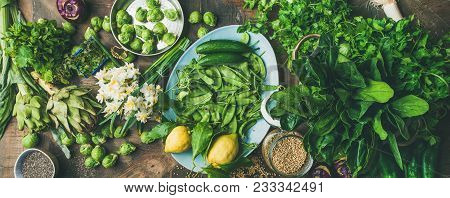 Spring Healthy Vegan Food Cooking Ingredients. Flat-lay Of Vegetables, Fruit, Seeds, Sprouts, Flower