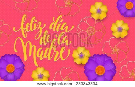 Mothers Day In Spanish With Yellow, Blue Flower In Gold Blooming Pattern Banner And Spanish Text Fel