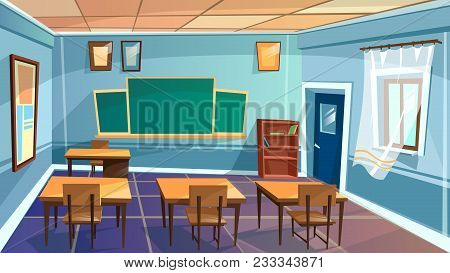 Vector Cartoon Empty Elementary High School, College, University Classroom Background. Illustration