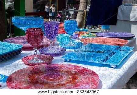 Beautiful Handmade Colorful Glass Crockery Beautiful Handmade Colorful Glass Crockery For Sale