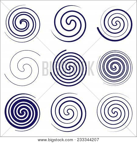 Set Of Round Spiral. Simple. Abstract. Vector Illustration. For Your Design. On A White Background.