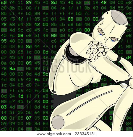 Female Robot, With Its Artificial Intelligence, Sits Lost In Thought On A Background Of Binary Code.