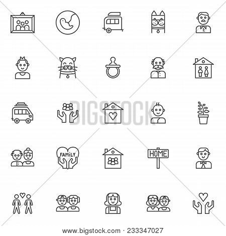 Family Members Outline Icons Set. Linear Style Symbols Collection, Line Signs Pack. Vector Graphics.