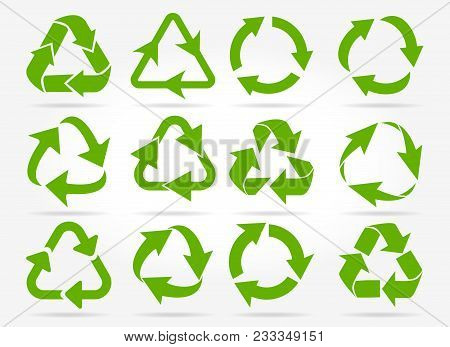 Recycled Arrows. Green Reusable Arrow Icons, Eco Recycle Or Recycling Vector Signs Isolated On White