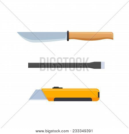 Set Knives For Cooking, Cutting Materials, Construction For Scraping Defects Of Materials, For Cutti