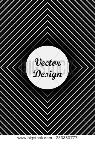 Cover Page Black And White Background; Center Is Copy Space For Your Text; Easy Using For Banner Cov
