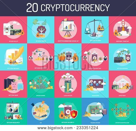 Cryptocurrency | Set Of Great Flat Icons Design Illustration Concepts For Finance, Wallet, Coin, Bit