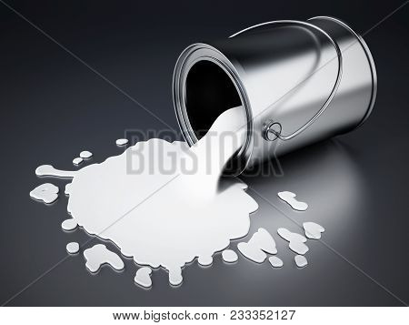 Open Metal Paint Can With Spilled White Paint.. 3d Illustration.