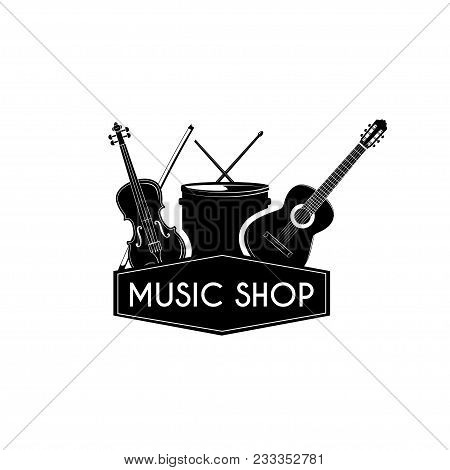Guital Drum Violin. Music Shop Store Logo Label. Musical Instruments Set. Vector Illustration.
