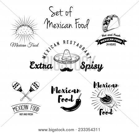 Burito, Nachos, Taco, Maracas, Sombrero, Mustache Pepper Mexican Food Set Vector Mexican Cuisine Tra