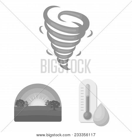 Different Weather Monochrome Icons In Set Collection For Design.signs And Characteristics Of The Wea