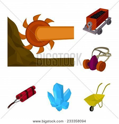 Mining Industry Cartoon Icons In Set Collection For Design. Equipment And Tools Vector Symbol Stock