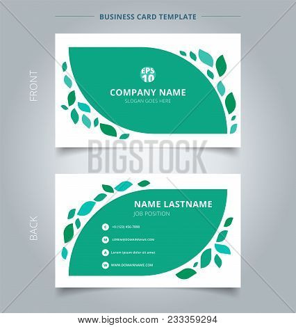 Creative Business Card And Name Card Template Graphic Green Leaves Pattern On White Background. Abst