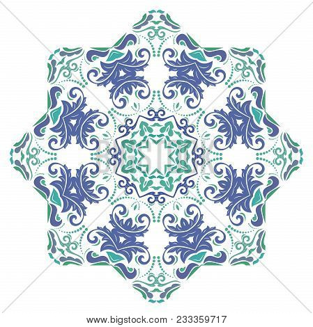 Oriental Vector Pattern With Arabesques And Floral Elements. Traditional Classic Round Colorful Orna