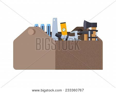 Repair And Construction Tools Concept. Working Case With Tools For Measuring, Dismantling, Clogging