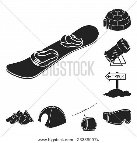 Ski Resort And Equipment Black Icons In Set Collection For Design. Entertainment And Recreation Vect