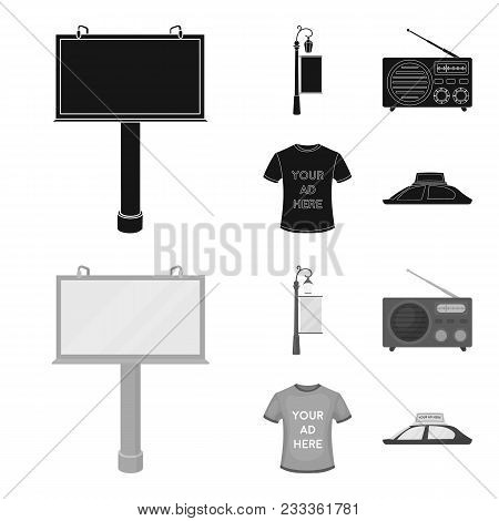 A Lamppost With A Sign, A T-shirt With An Inscription, A Radio, A Car Roof.advertising, Set Collecti